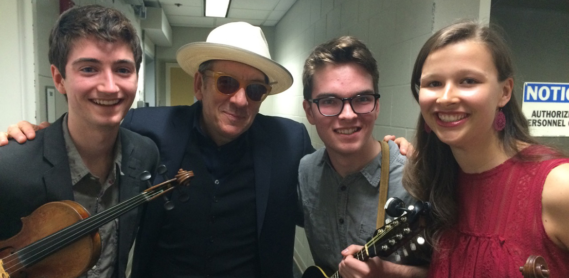 Elvis Costello and The Onelies backstage at The Paramount Theatre.
