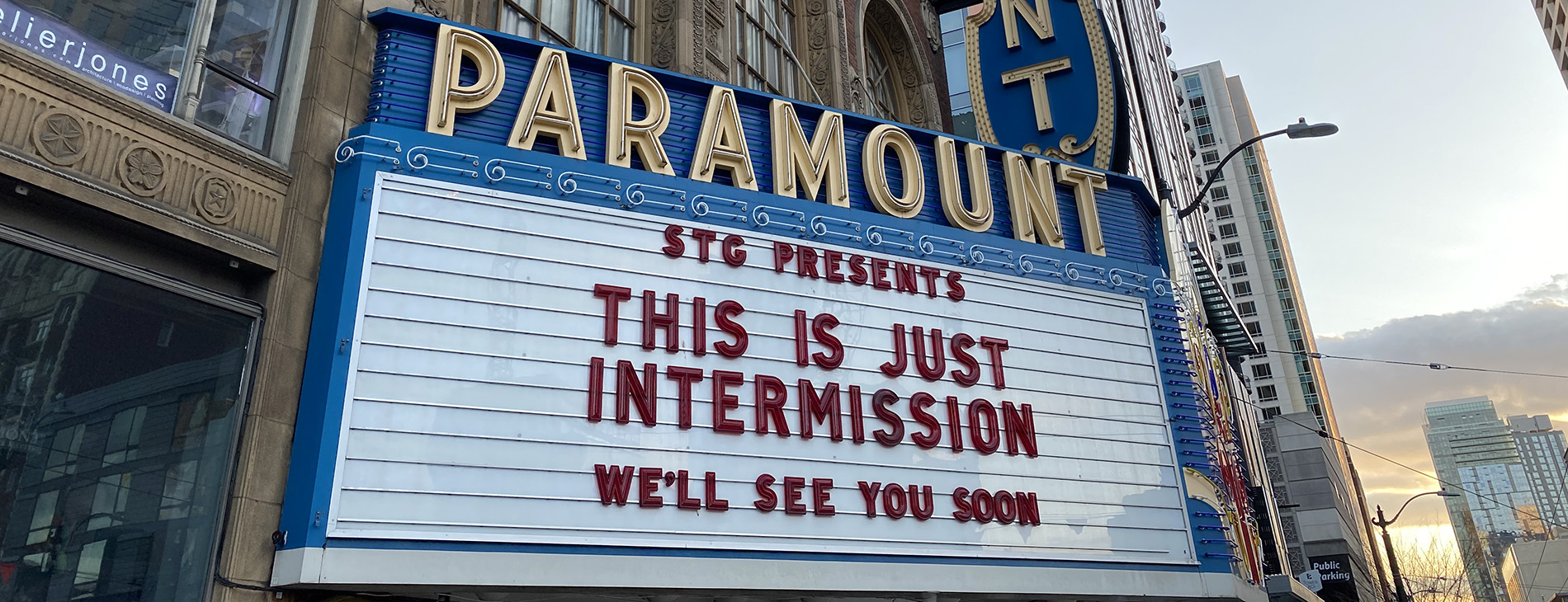 This is just intermission as text on the Paramount marquee