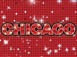 Chicago in glittery text on a red background.