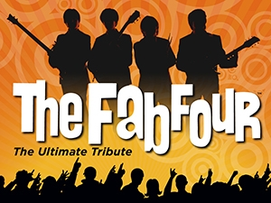 Silhouette of four band members and a cheering audience, with text.