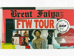 Collage of images of Brent Faiyaz, with text.