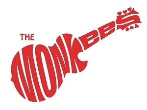 The Monkees in red text, shaped as a guitar.