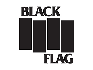 Black Flag logo with text and four black bars.