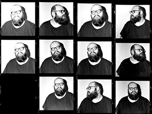 Multiple black and white photos of John Moreland