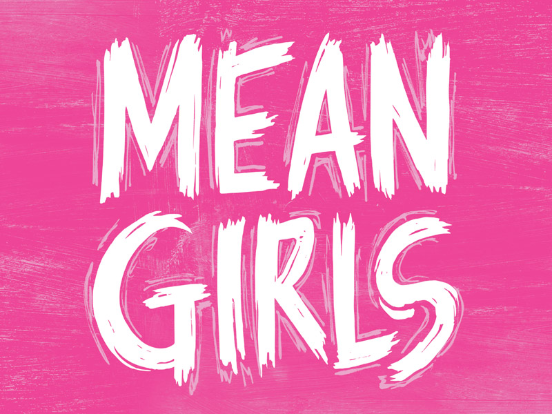 The words Mean Girls in white text against a pink background.