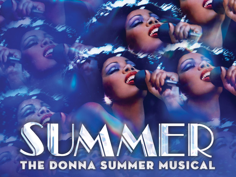 Kaleidoscope image of Donna Summer singing with a microphone, with show title