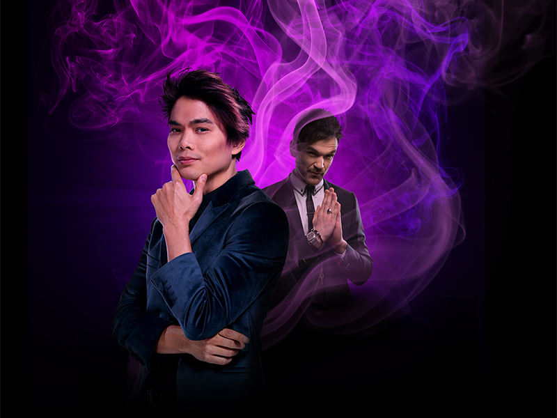 Shin Lim standing in foreground with another man in the background