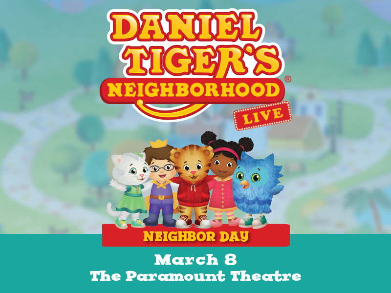 Five characters standing underneath the text: Daniel Tiger's Neighborhood Live
