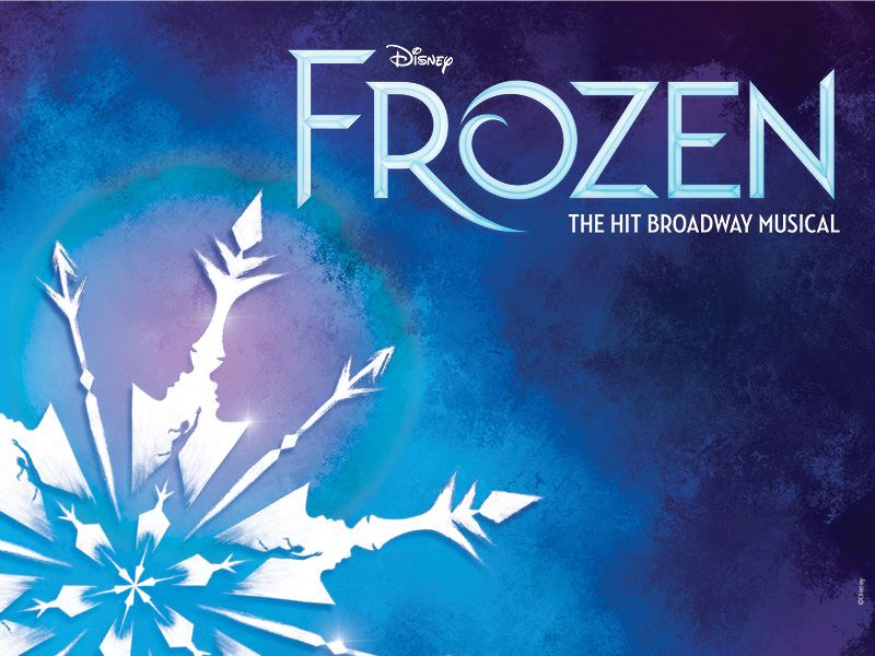 Blue background with three-quarters of a snowflake and the text Disney Frozen, The Hit Broadway Musical.