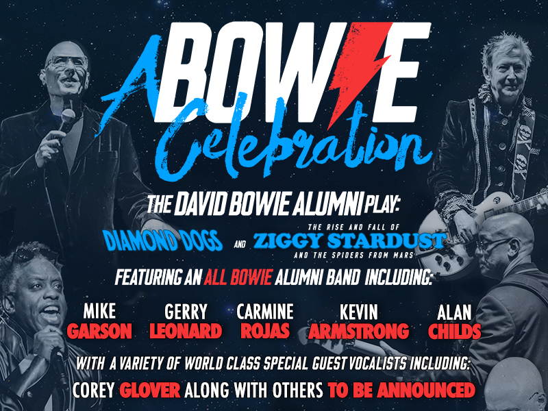 A Bowie Celebration in text with four band members and more text detailing who else is playing.