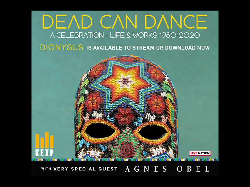 Dead Can Dance album artwork, featuring a beaded skull, with show information as text.