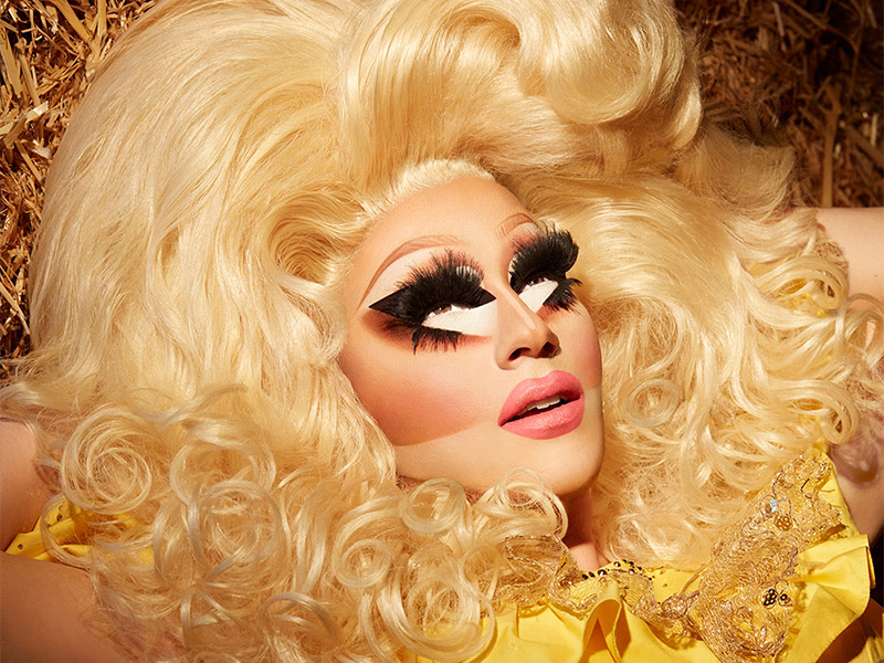 Trixie Mattel with a large blond hairstyle