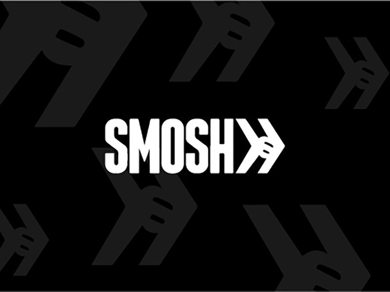 Black background with white text that says SMOSH