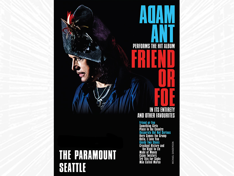 Adam Ant in profile, wearing an ornate hat, with show information as text.