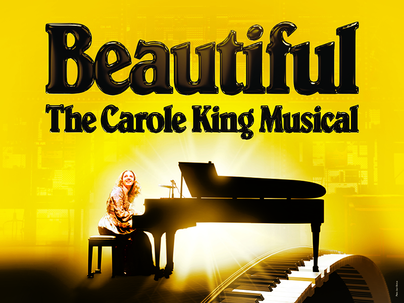 Beautiful The Carole King Musical in text, with a woman seated at a piano beneath.