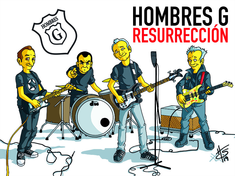 Hombres G as cartoon characters, all holding their instruments.