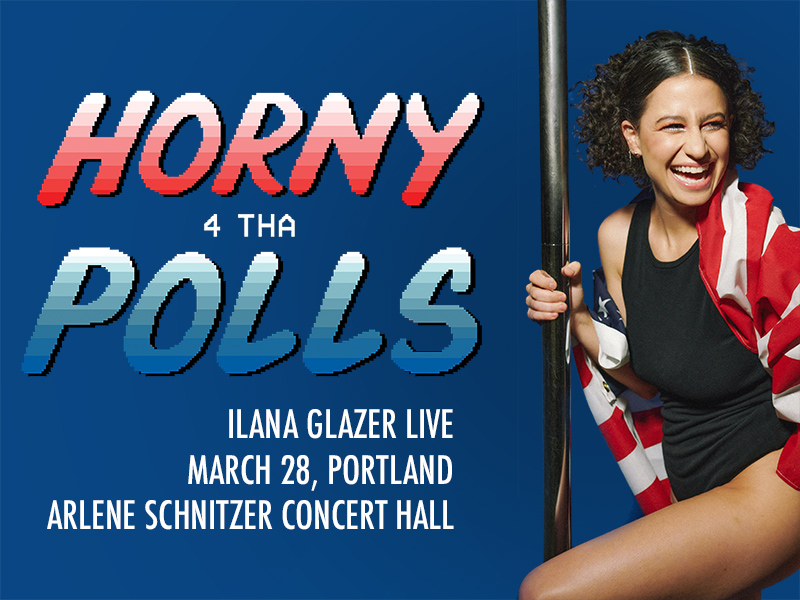 Ilana Glazer laughing and wearing a black bodysuit and American Flag, with show title and info as text