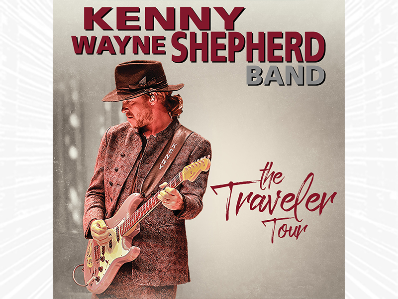 Kenny Wayne Shepherd playing the guitar with tour name - The Traveler Tour