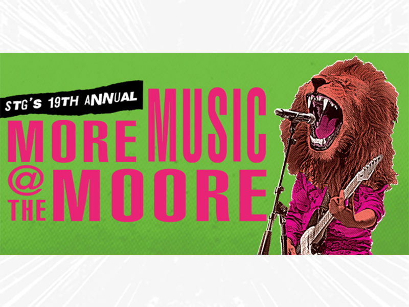 STG's 19th Annual More Music @ The Moore with lion playing guitar.