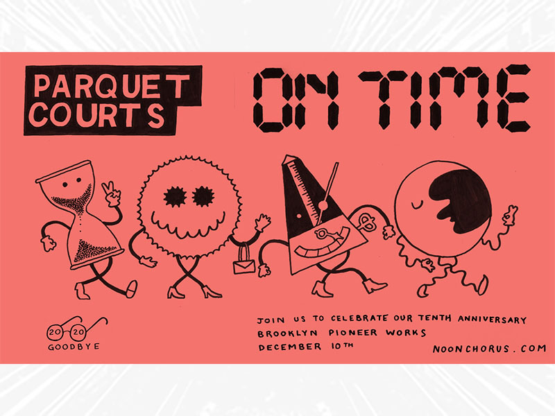 Parquet Courts On Time pink background with show details