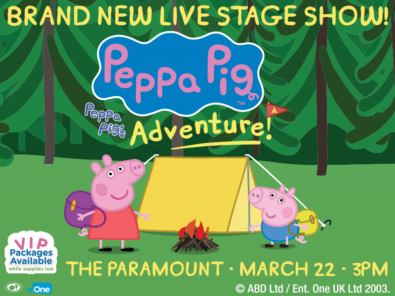 Brand new live stage show! Peppa Pig's Adventure. Two illustrated characters standing in a forest outside of a tent.