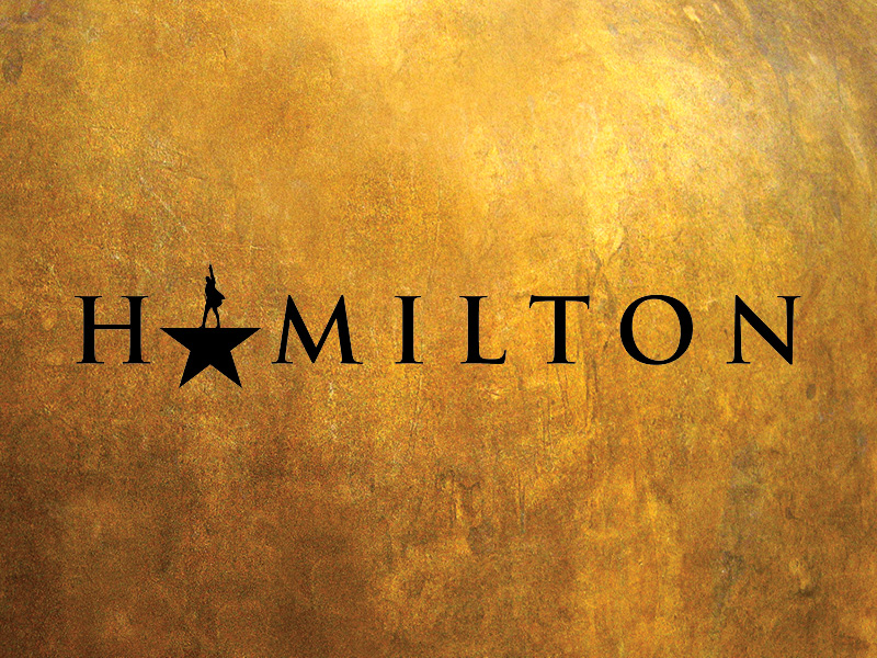 Hamilton in black text with