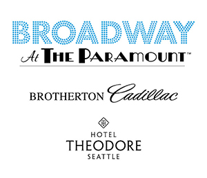 Company logos and text: Sponsored by Broadway At The Paramount, Brotherton Cadillac, Hotel Theodore Seattle