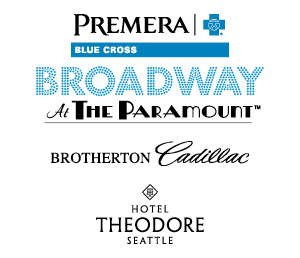 Company logos and text: Sponsored by Premera Blue Cross Broadway At The Paramount, Brotherton Cadillac, Hotel Theodore Seattle