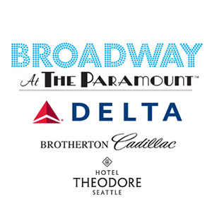 Company logos and text: Sponsored by Broadway At The Paramount, Delta, Brotherton Cadillac, Hotel Theodore Seattle