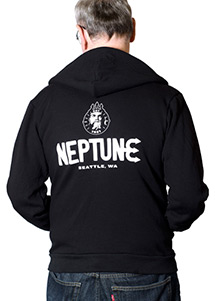 Back view of man wearing Neptune Unisex Zip Hoodie