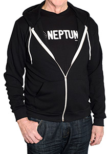 Front view of man wearing Neptune Unisex Zip Hoodie
