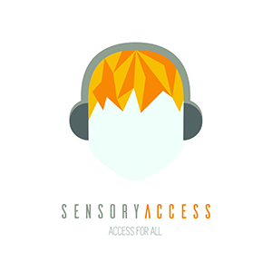Sensory Access logo of head with yellow hair wearing headphones and the text Sensory Access / Access for All